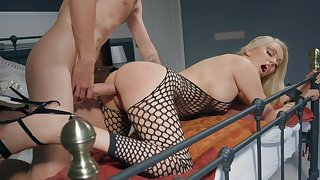 Milf in sexy fishnets assembly room sex far her son