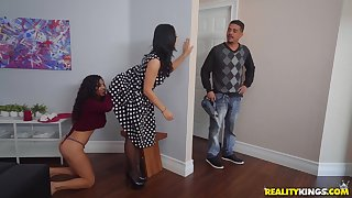 Crystal Rush with an increment of  Gabriela Lopez sneaky lesbian sex